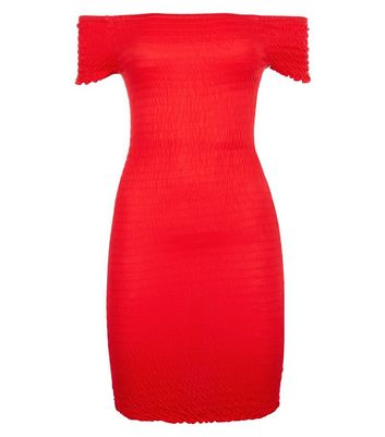 Teens Red Shirred Bardot Neck Bodycon Dress New Look