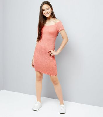 Teens Pink Shirred Bardot Neck Dress New Look