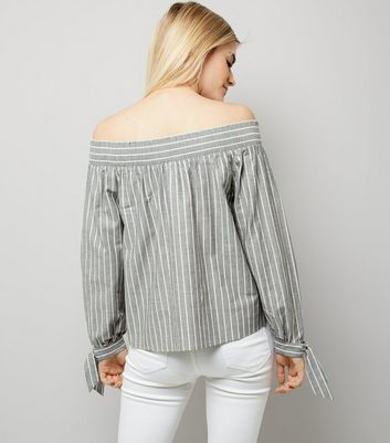Light Grey Stripe Tie Sleeve Bardot Neck Top New Look