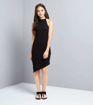 teens-black-asymmetric-hem-bodycon-dress