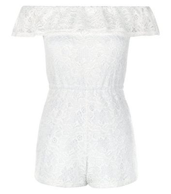 Teens White Lace Bardot Neck Playsuit New Look