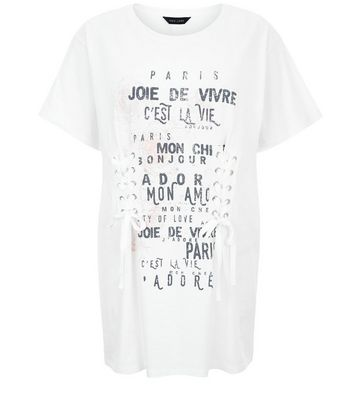 White French Slogan Print Lace-Up Longline T-Shirt New Look