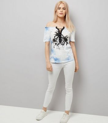 Pale Blue Tie Dye Lace Up Front Bardot Top New Look