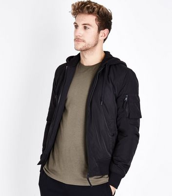 Black Jersey Hooded Bomber Jacket New Look