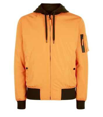 Orange Jersey Hooded Bomber Jacket New Look