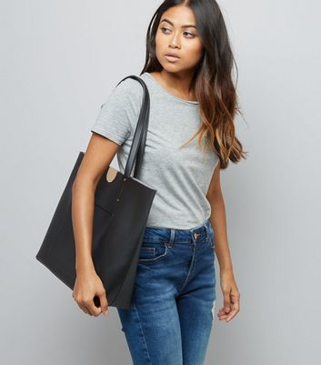 Black Patch Pocket Tote Bag New Look