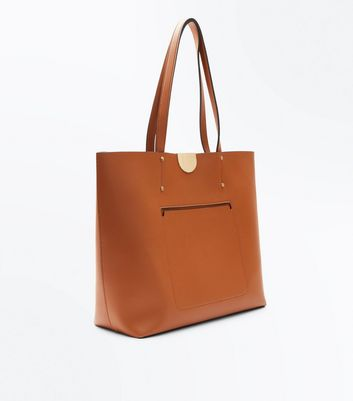 Tan Patch Pocket Tote Bag New Look
