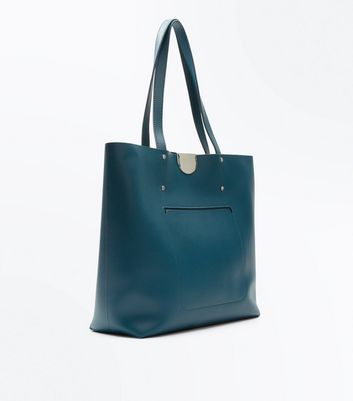 Blue Patch Pocket Tote Bag New Look