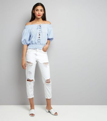 Cameo Rose Pale Blue Lace Up Bardot Top New Look
