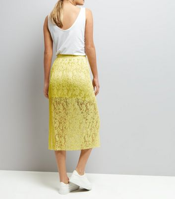 Yellow Lace Half Lined Midi Skirt New Look