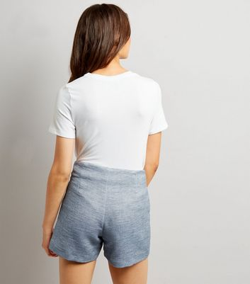 Blue Boucle Shorts New Look