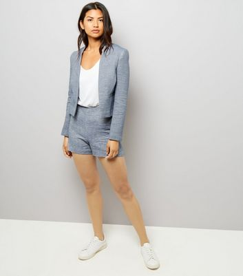 Blue Boucle Suit Jacket New Look