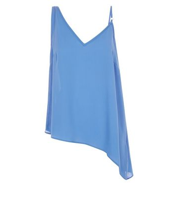 Blue Aysmmetric Hem Cami Top New Look