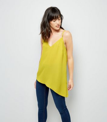 Yellow Aysmmetric Hem Cami Top New Look
