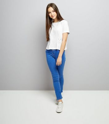 Teens White Lace Up Front T-Shirt New Look