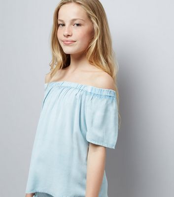 Teens Pale Blue Wash Bardot Neck Top New Look