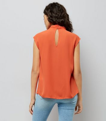 Orange Wrap Neck Sleeveless Top New Look