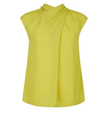 Yellow Wrap Neck Sleeveless Top New Look