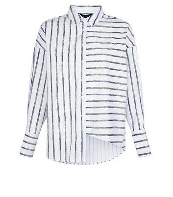 White Stripe Deconstructed Hem Shirt New Look