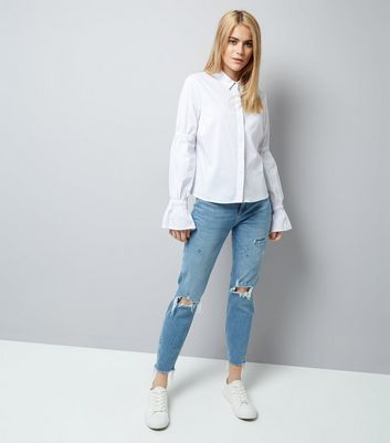 White Ruched Bell Sleeve Shirt New Look