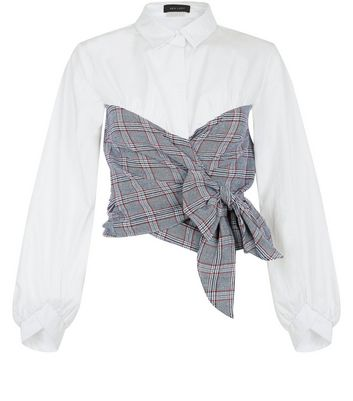 White Contrast Check Body Bow Front Shirt New Look