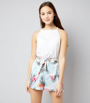 Teens Pale Blue Tropical Print Tie Front Shorts New Look