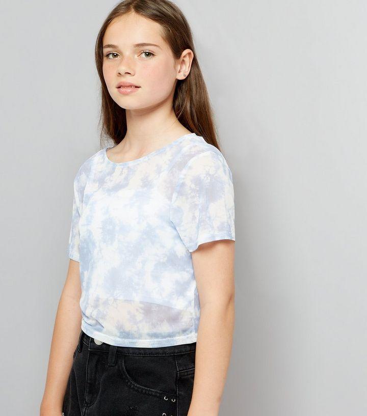 0378f4e1a70c8a Teens Pale Blue Tie Dye Mesh Crop T-Shirt | New Look