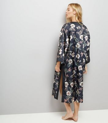 Blue Floral Kimono New Look