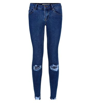 Blue Ripped Distressed Hem Skinny Jenna Jeans New Look