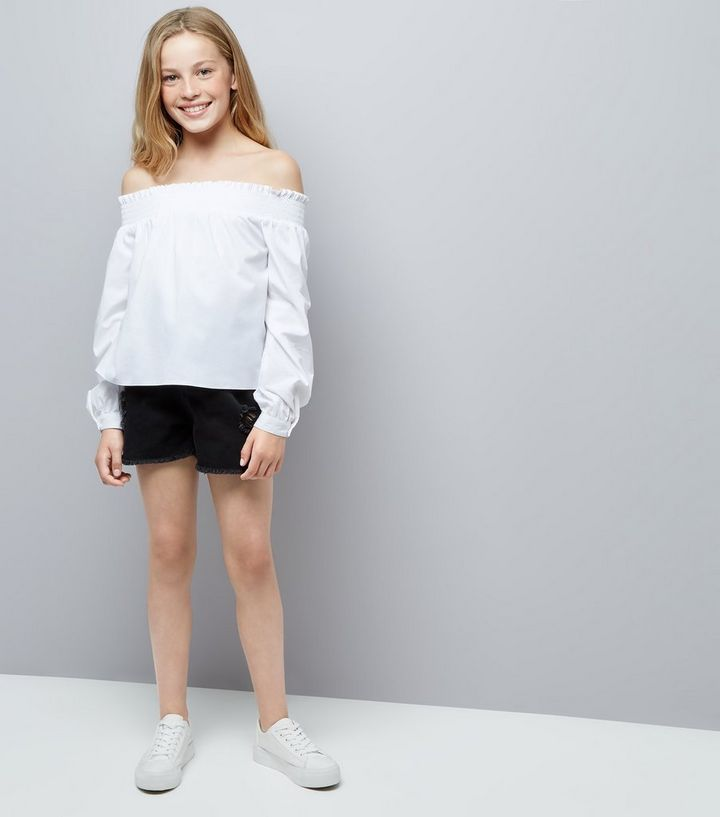 4caeb05f01edeb ... Teens White Long Sleeve Bardot Neck Top. ×. ×. ×. Shop the look