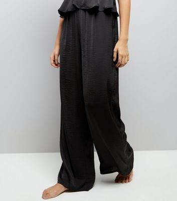 Black Satin High Waist Pyjama Bottoms New Look
