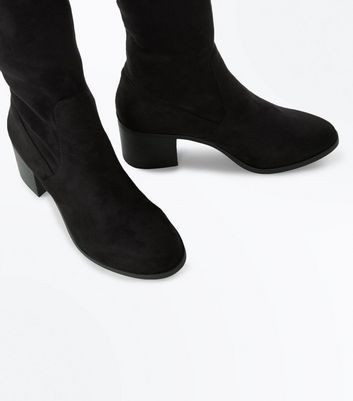 Black Suedette Over The Knee Block Heel Boots New Look