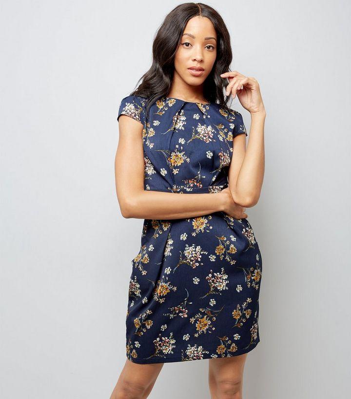 47f8d124c067 Blue Vanilla Navy Floral Print Tulip Dress | New Look