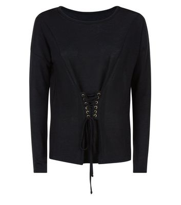 Blue Vanilla Black Corset Long Sleeve Top New Look