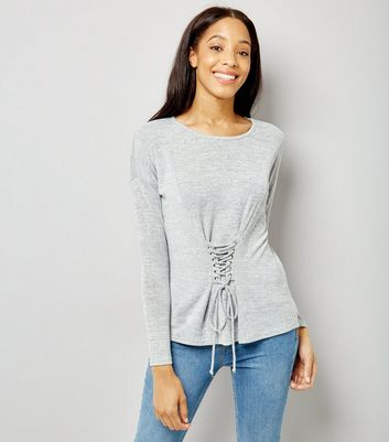 Blue Vanilla Grey Corset Long Sleeve Top New Look