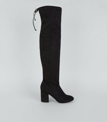 Black Suedette Over The Knee Boots New Look