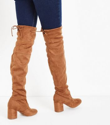 Tan Suedette Over The Knee Boots New Look