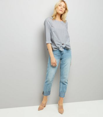 Grey Stripe Knot Front Poplin Top New Look