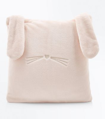 Shell Pink Fluffy Bunny Cushion New Look
