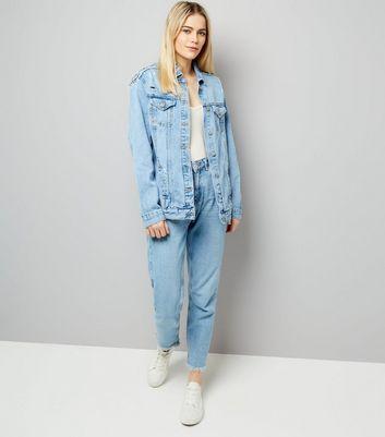 Blue Beaded Back Denim Jacket New Look