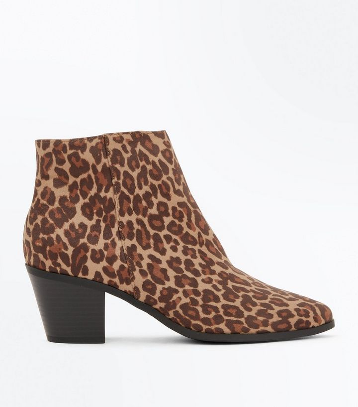 8ca8c595167 Stone Leopard Print Suedette Western Ankle Boots Add to Saved Items Remove  from Saved Items