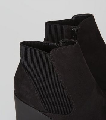Black Chelsea Block Heel Ankle Boots New Look