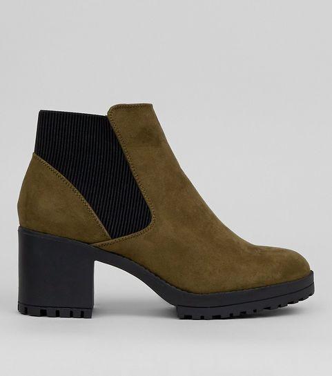 Khaki Suedette Chelsea Boots