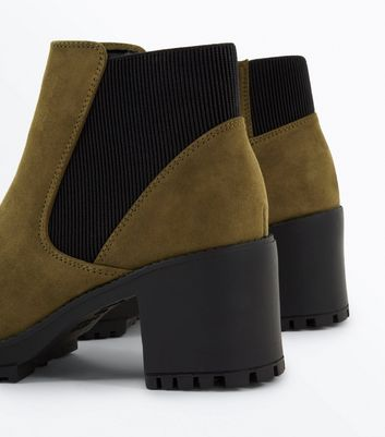 Green Suedette Chunky Chelsea Boots New Look