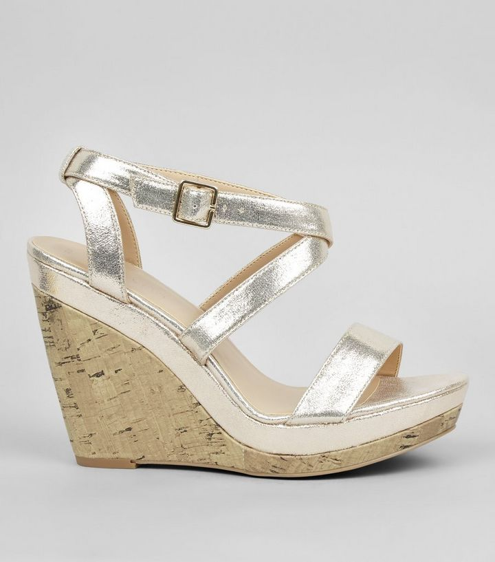 low cost competitive price casual shoes Gold Strappy Wedge Heels Add to Saved Items Remove from Saved Items