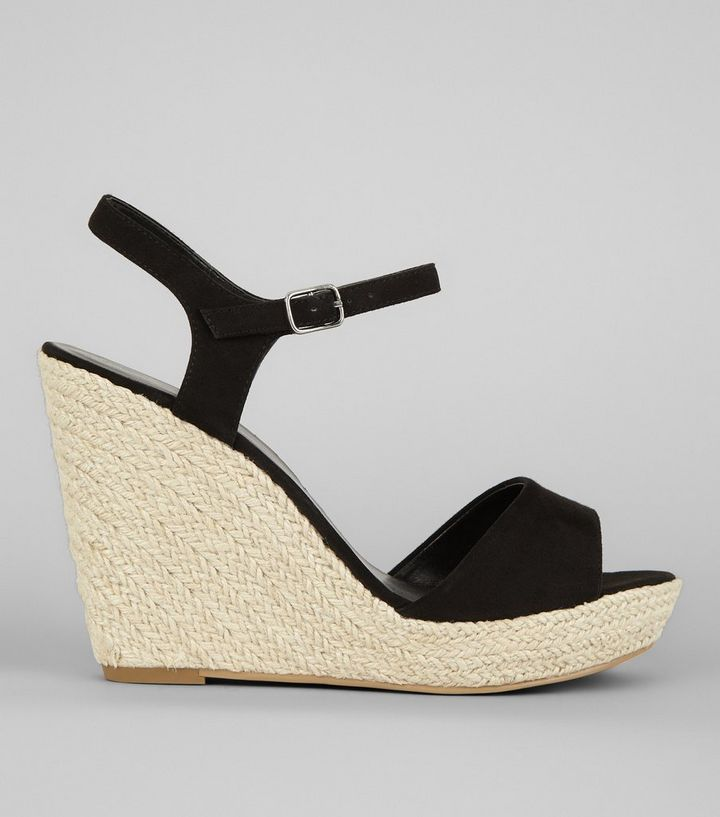 a4bcb7ca0 Black Wedged Espadrille Heeled Sandals | New Look