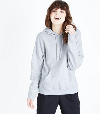 New Grey Oversized Look Hoodie Pale HXtYqq