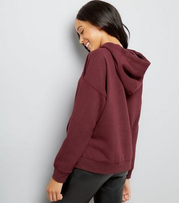 Burgundy Oversized Hoodie New Look
