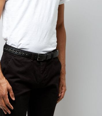 Black Chain Trim Belt New Look
