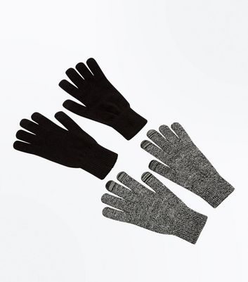 2 Pack Black Touch Screen Gloves New Look